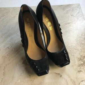 L.A.M.B Black Leather & Suede Button Heels